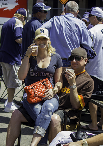 happy couple at Padres block party