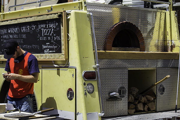 fire truck turned into pizza oven - smart and tasty!