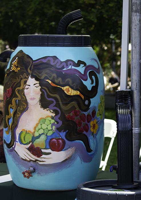 artsy rain barrel