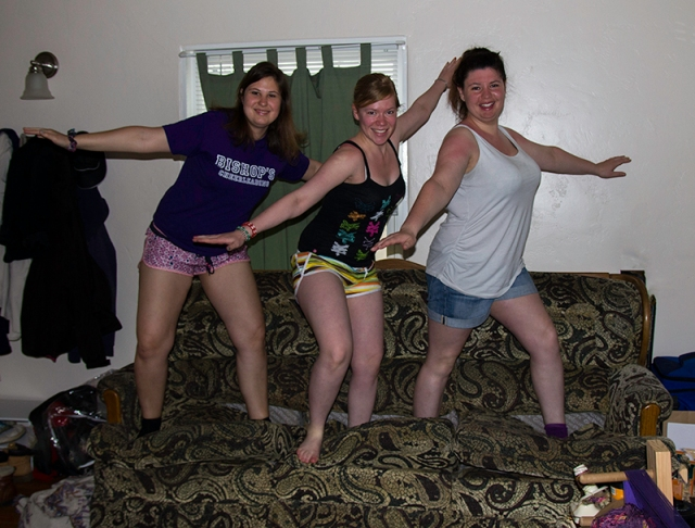 Nici, Marita, and Sabrina bringing a new meaning to couchsurfing