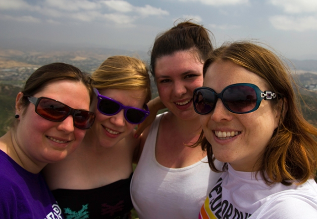 four girls on a mountain top