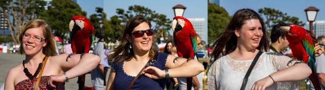 Marita, Nici, and Sabrina with a macaw