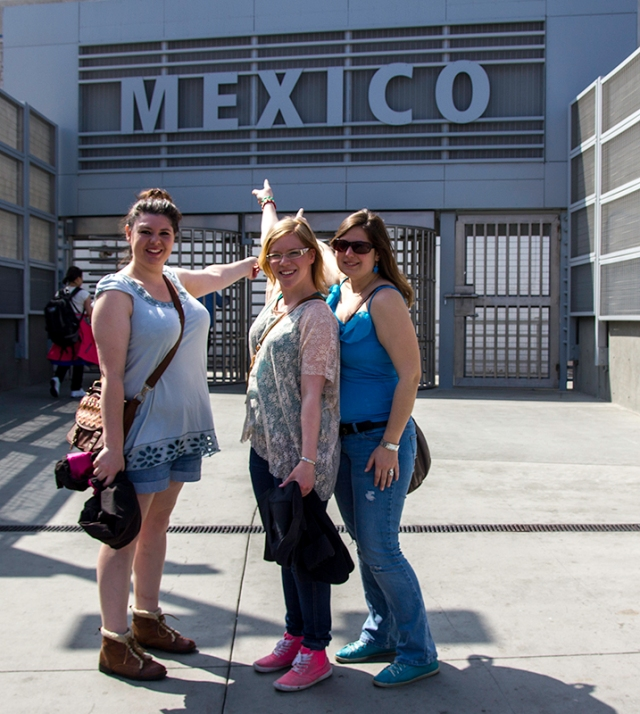 Sabrina, Marita, and Nici in front of the Mexico border