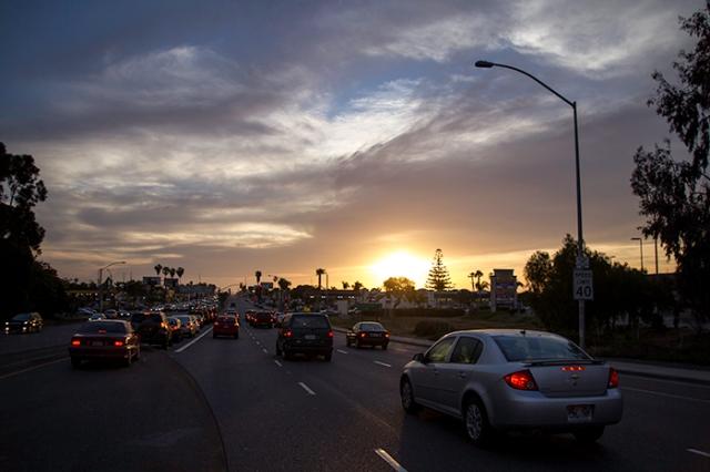 sunset on Palm Ave.