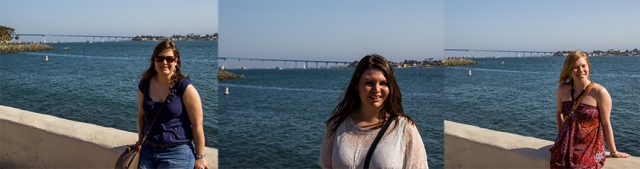Nici, Sabrina, and Marita with the Coronado Bay Bridge
