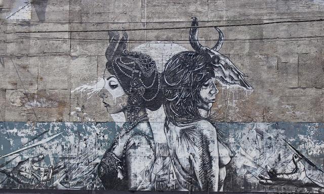 black & white mural