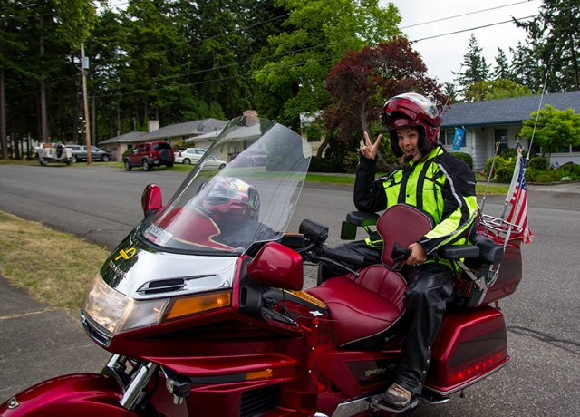 me on the Gold Wing - photo by Aunt Lorraine