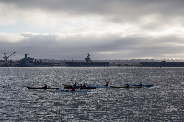 kayakers in the harbor