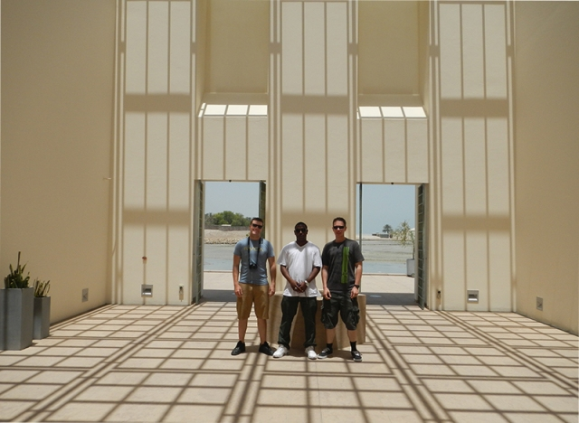 Chaz, Peterson, and Hallman inside Qal' at al-Bahrain Museum