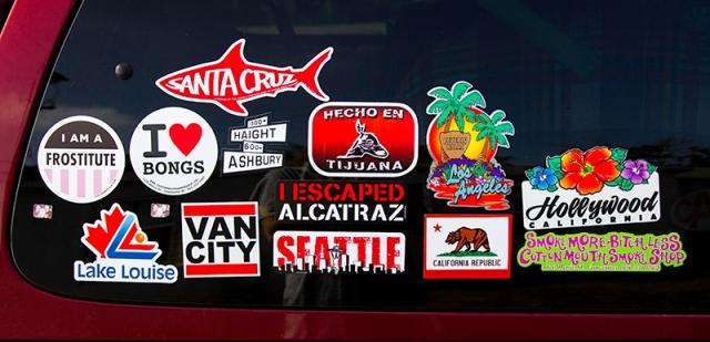 their van's sticker collection