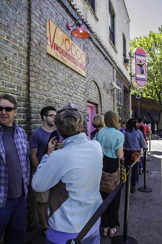 line for Voodoo Donuts