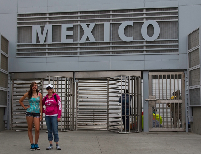 Nadia and Irena in front of Mexico border