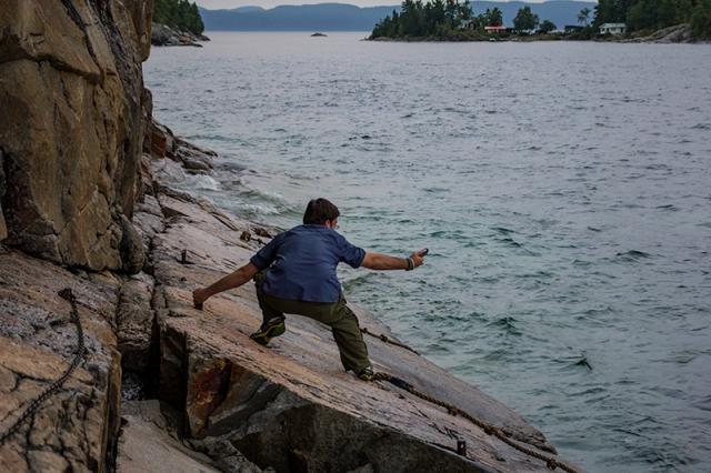 Caleb photographing Agawa Rock
