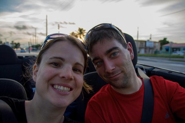 in the convertible in Miami