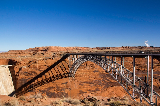 bridge over Colorado River next to Glen Canyon Dam