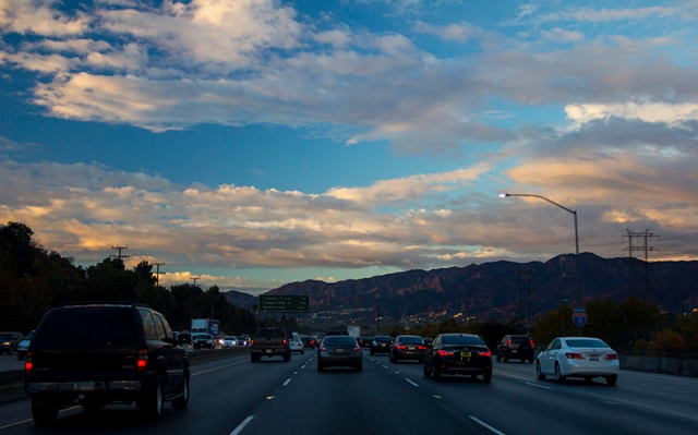 driving north by the Verdugo Mountains