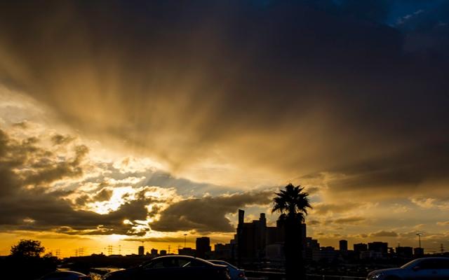 sun setting over Los Angeles