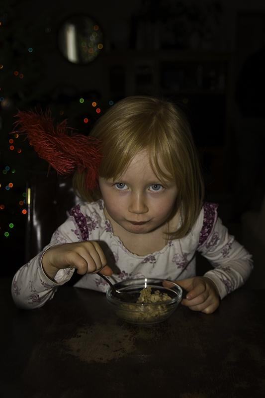 Sammi eating oatmeal