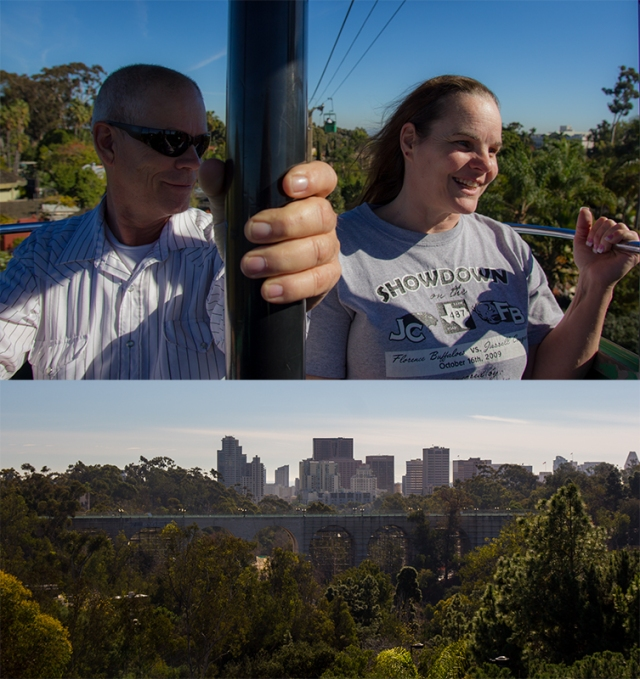 on the aerial tram overlooking zoo and cityscape