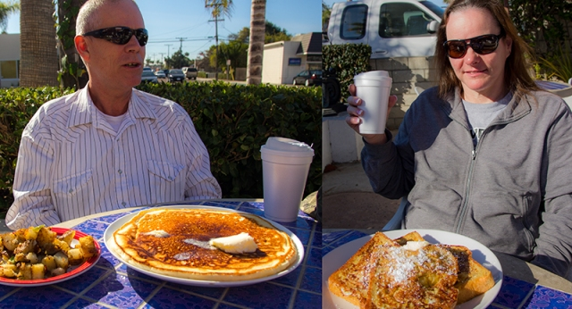 Barry with pancake and potatoes. Mom with French toast and coffee