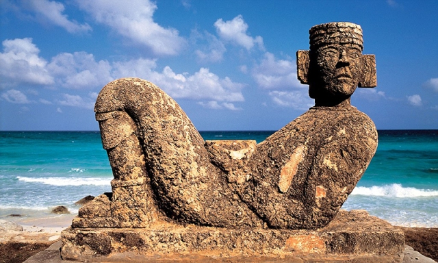 A Mayan sculpture in Tulum, Mexico.