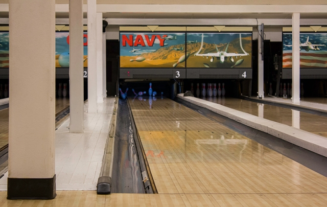 a strike at the bowling alley on base