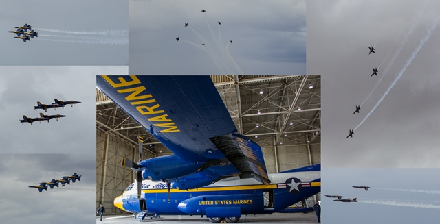 Fat Albert surrounded by F/A-18s in demonstration flight