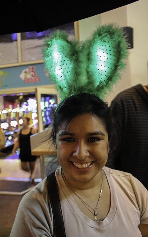 Deanna with green bunny ears at Margaritaville