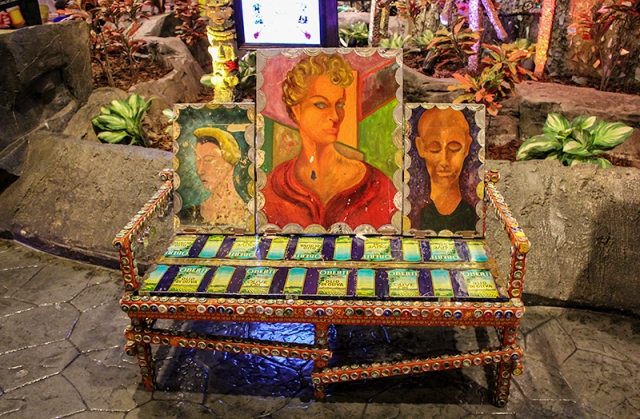 bench in front of House of Blues