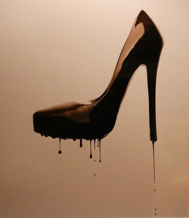melting chocolate heel art in The Cosmopolitan