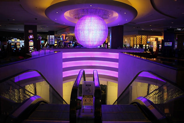 purple disco ball chandelier in Planet Hollywood