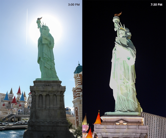 day and night Lady Liberty