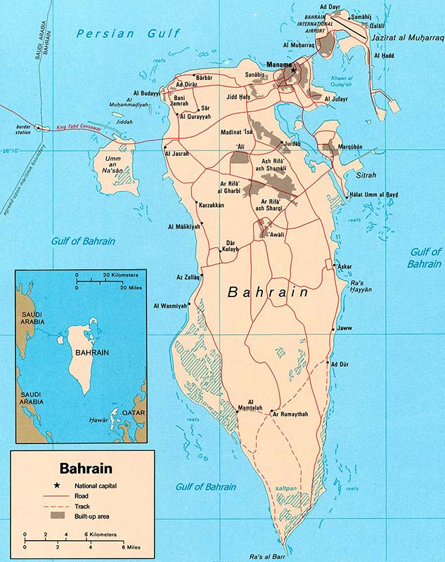 map of the islands of Bahrain
