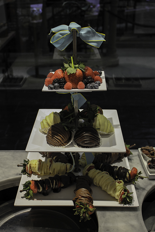 Godiva chocolate fruit tower