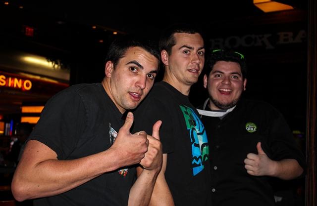 three friends drunk in Vegas