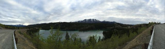 panorama of Good Hope Lake, BC