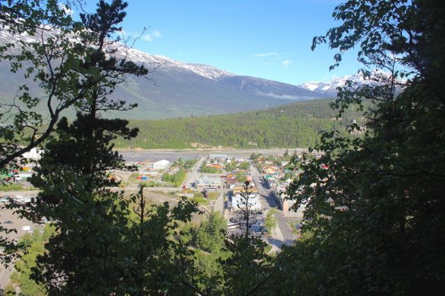 view of Skagway from the trail