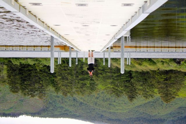 upside-down at Lake Lytle