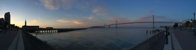the SF Ferry Building and the Golden Gate Bridge