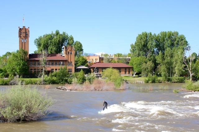 surfer in the Clark-Fork River