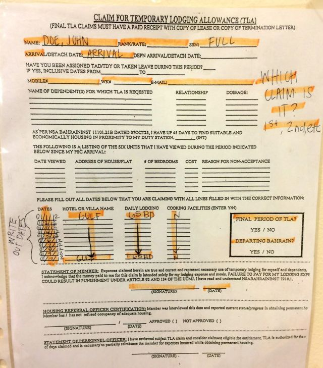 sample TLA form at Housing