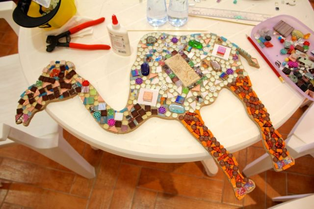 my mosaic mess awaiting grout