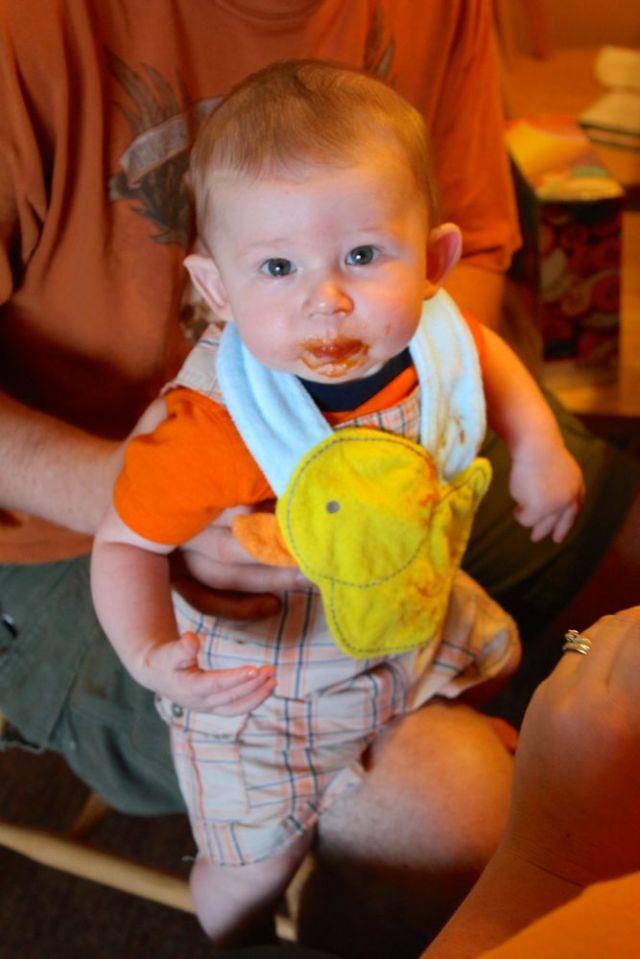 Tristan eating orange and Kris and Vicki wearing orange too