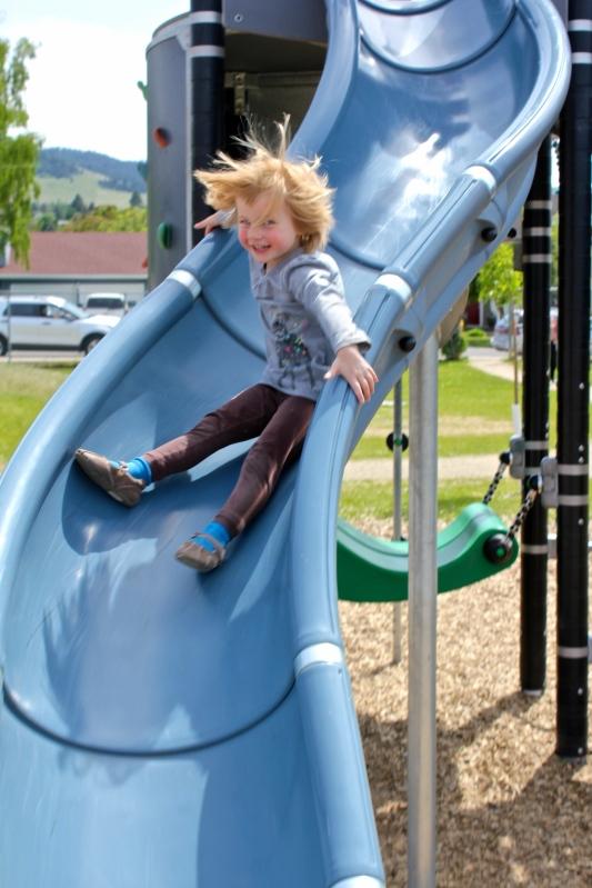 Lyra on the big blue slide