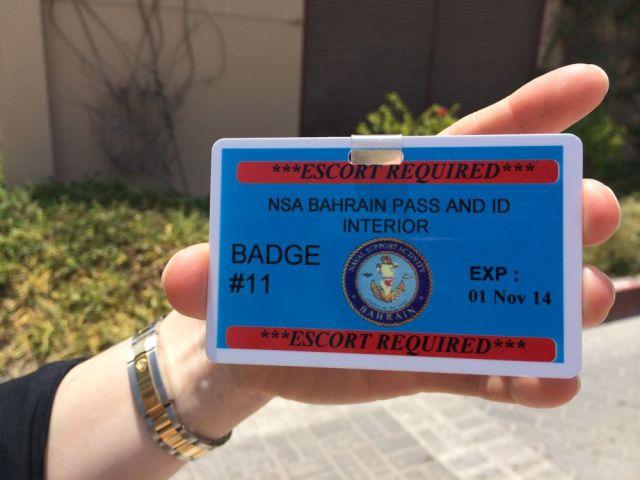 escort badge for NSA Bahrain