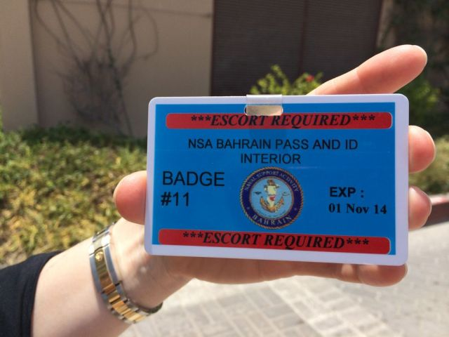 escort badge for NSA Bahrain