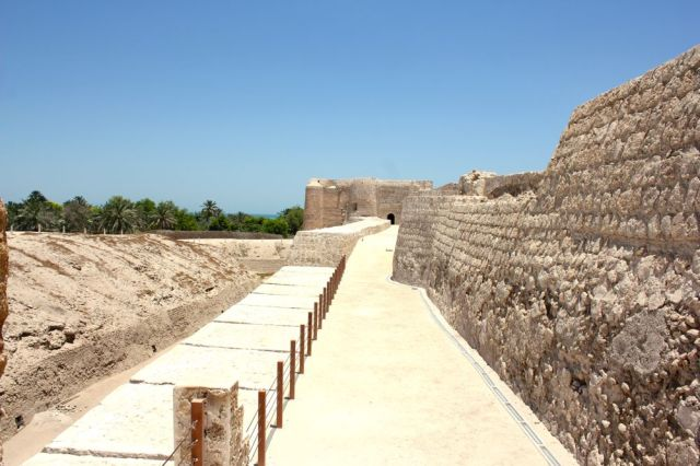 along the fort's upper, outer wall