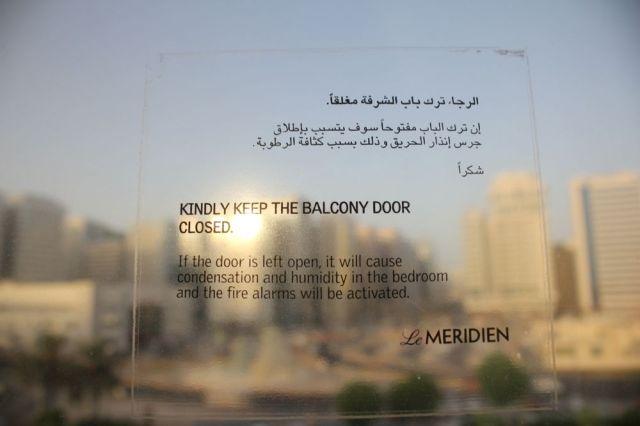 sign on the window, room 529, Le Meridien