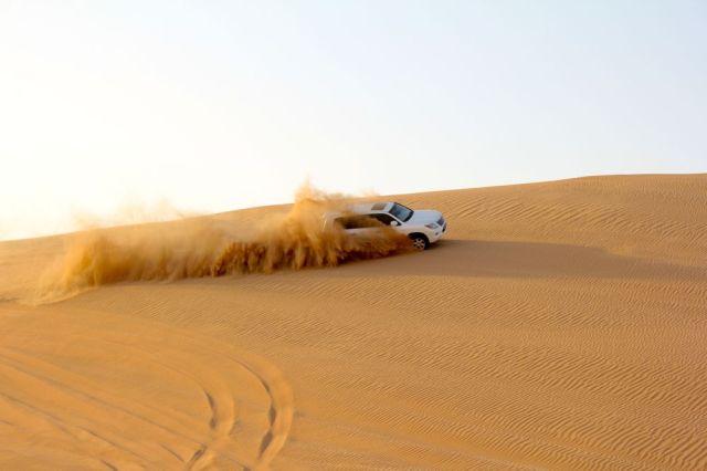 dune bashing in action