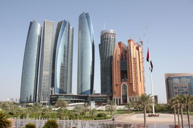 view of Etihad Towers from the Emirates Palace steps